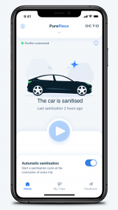 mobile phone screenshot showing a car has been sanitized